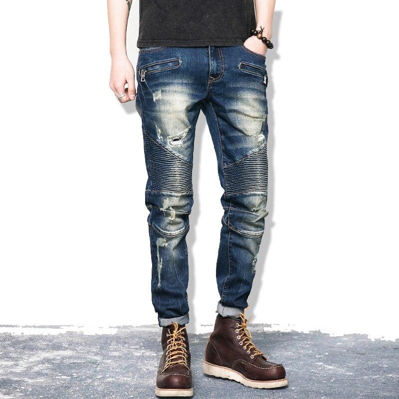 2017 New Ripped Denim Pant Knee Hole Zipper Biker Jeans Men Slim Skinny Destroyed Torn Jean