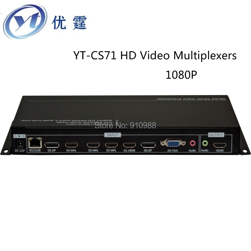 YT-CS71 HD Video Multiplexers HDMI 4x1 Quad Multi-Viewer support 1VGA 2DP 4HDMI chassis buttons RS-232 full-screen display