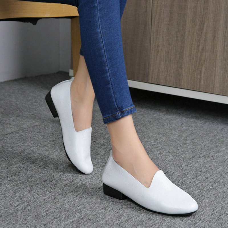 2017 Women Loafers Soft Shoes 100% Genuine Leather Comfy Casual Shoes High Quality Brand Flat Shoes Black/Red/White Mother Shoes top brand high quality genuine leather casual men shoes cow suede comfortable loafers soft breathable shoes men flats warm