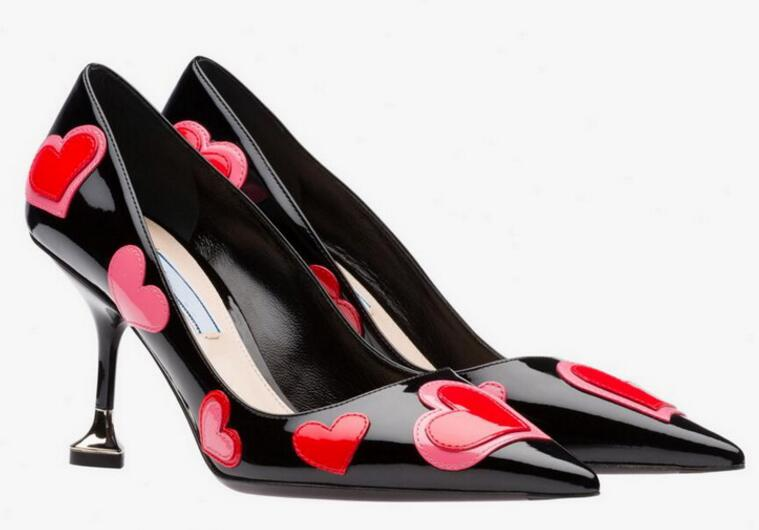 ФОТО 2017 Newest love heart mixed colors high heel shoes sexy pointed toe leather pumps woman slip-on wedding heels dress shoes