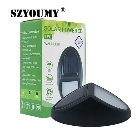 szyoumy 10 luminaria levou energia solar luz sensor de movimento lampada de parede levou painel