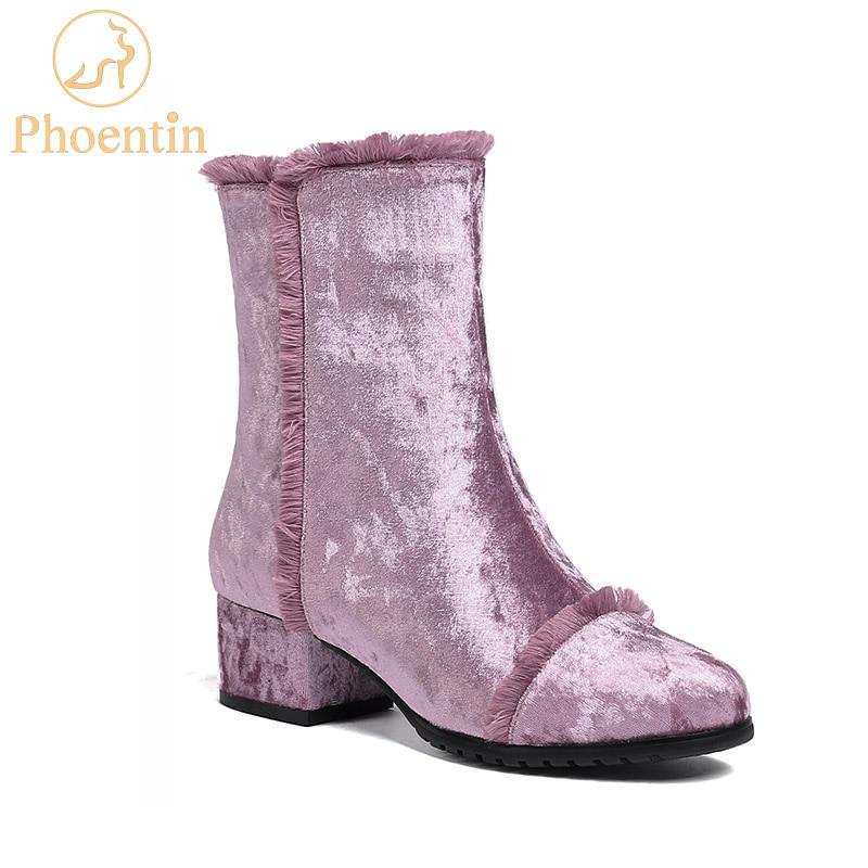 Phoentin púrpura flecos botas señora 2018 nueva llegada zip tobillo botas terciopelo bloque talón verde invierno Zapatos Mujer talla grande FT524-in Botas hasta el tobillo from zapatos    1
