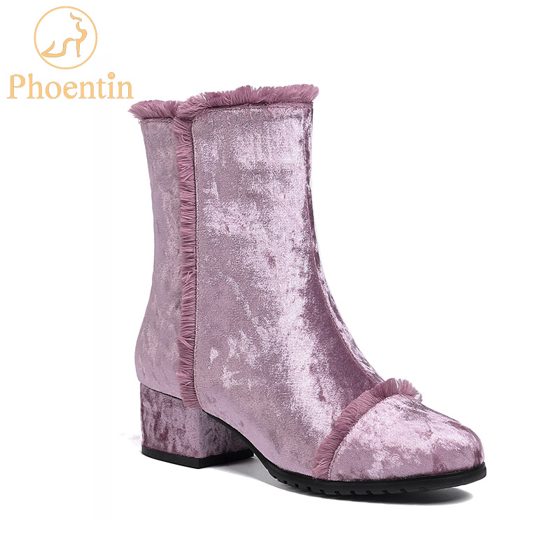 Phoentin purple fringe boots lady 2018 new arrival zip ankle boots velvet block heel green winter shoes women plus size FT524Phoentin purple fringe boots lady 2018 new arrival zip ankle boots velvet block heel green winter shoes women plus size FT524