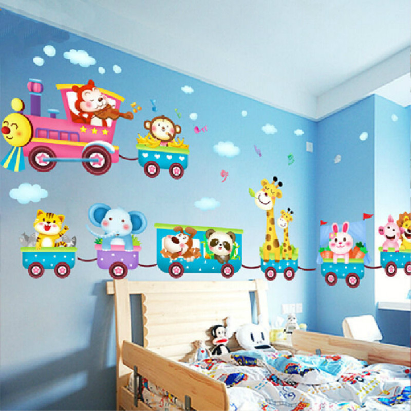 Cartoon Animals Train Child Room Wall Stickers For Kids Rooms Boys Room  Adesivo De Parede Wall Decals Part 42