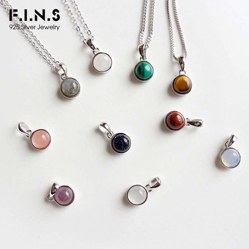 F.I.N.S Classic Hot 100% 925 Sterling Silver Natural Malachite Blue-Sand Crystal Opal Stone Tigereye Gem Pendants Je