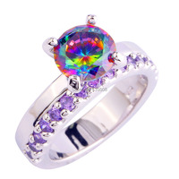 Pretty and Colorful Round Cut Rainbow Topaz & Amethyst Jewelry 925 Silver Ring Size 5 6 7 8 9 10 11 12 Wholesale Free Shipping