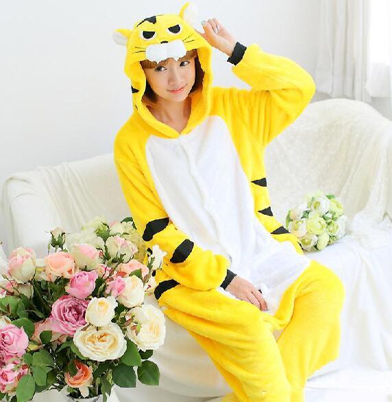 6d0d03bbff9d Wholesale - New Arrival Hot Sale Lovely Cheap Kigurumi Pajamas AnimeTiger  Cosplay Costume Unisex Adult Yellow Dress Slee