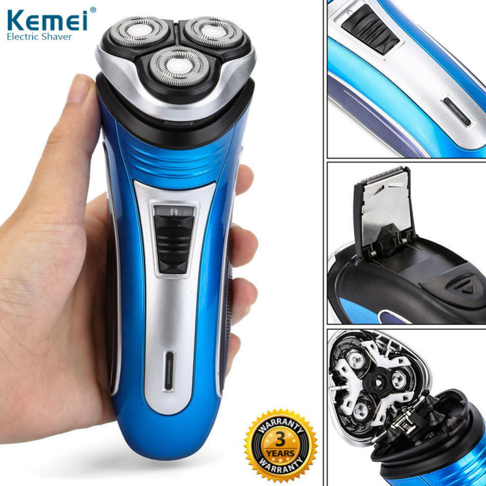 1 Set Blue Color Mens Electric Rotary Shaver UK/EU/US Plug Rechargeable 3D Triple Floating Head Trimmer Beard Shaver Razor Kit