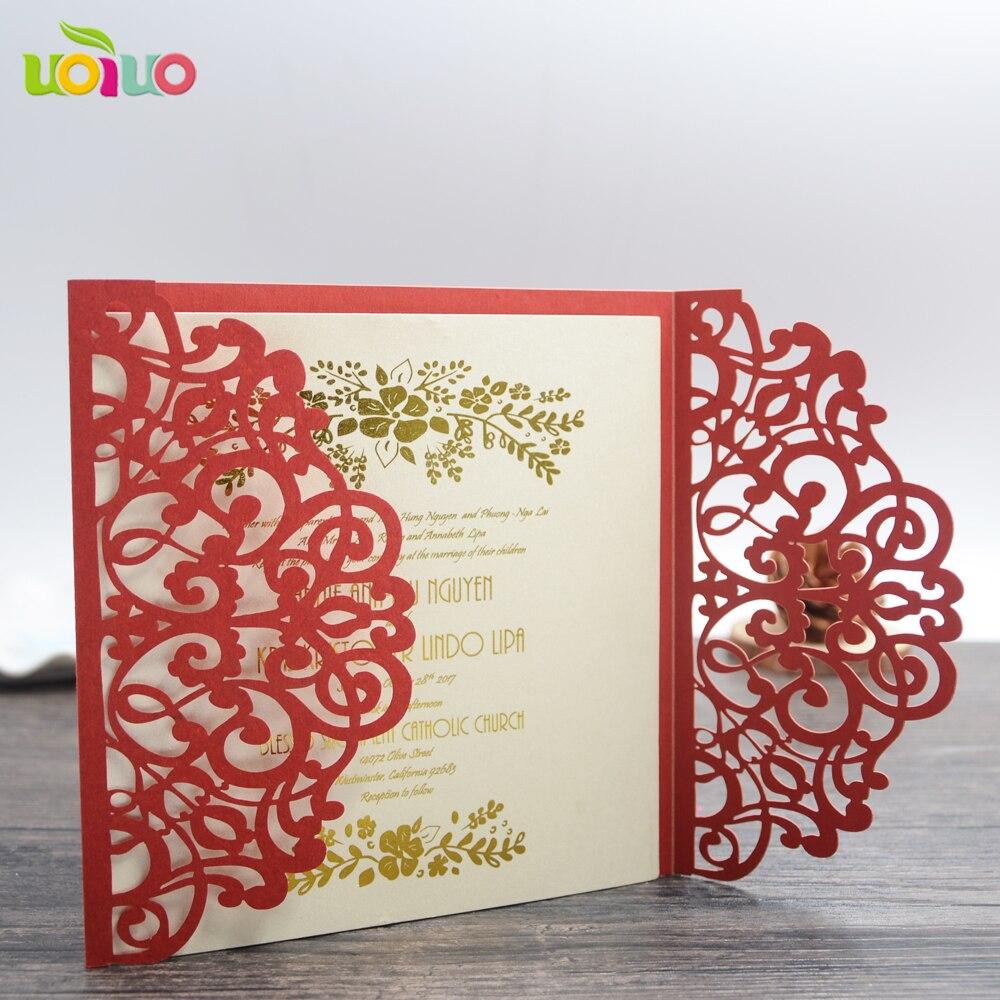 10Pcs Sample ribbon cream Laser Cut Wedding Invitation Cards ...