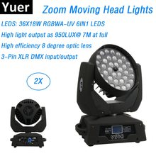 2 Buah Lampu Moving Head LED Zoom Cuci 36X18W RGBWA-UV Pencampuran Warna DMX Stage Moving Head Cuci lampu LED DJ Efek Strobo Lampu(China)