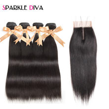 Brazilian Straight Hair Bundles With Closure 4 Bundles With Closure Swiss Lace Clsoure Non Remy Human Hair Weaves With Closure(China)