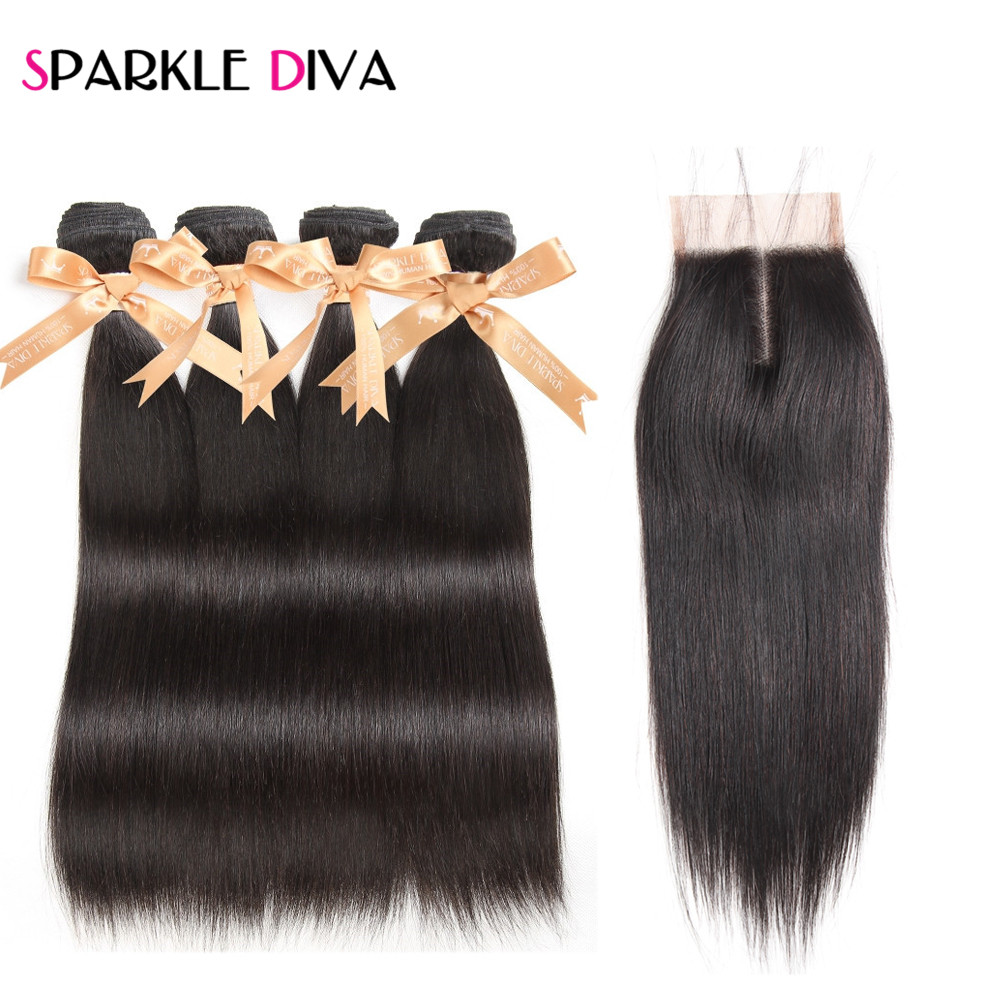 Brazilian Straight Human Hair 4 Bundles Deal With 4*4 Lace Closure Middle Part Human Hair Extensions Non Remy Sparkle Diva Hair