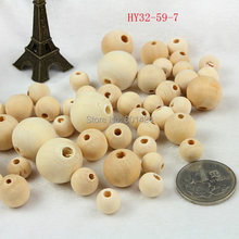 32-59 natural colour 6/8/10mm/12mm/14mm/16mm/18mm/20/25/30/35/40MM wooden beads round wooden chunky beads necklace beads(China)