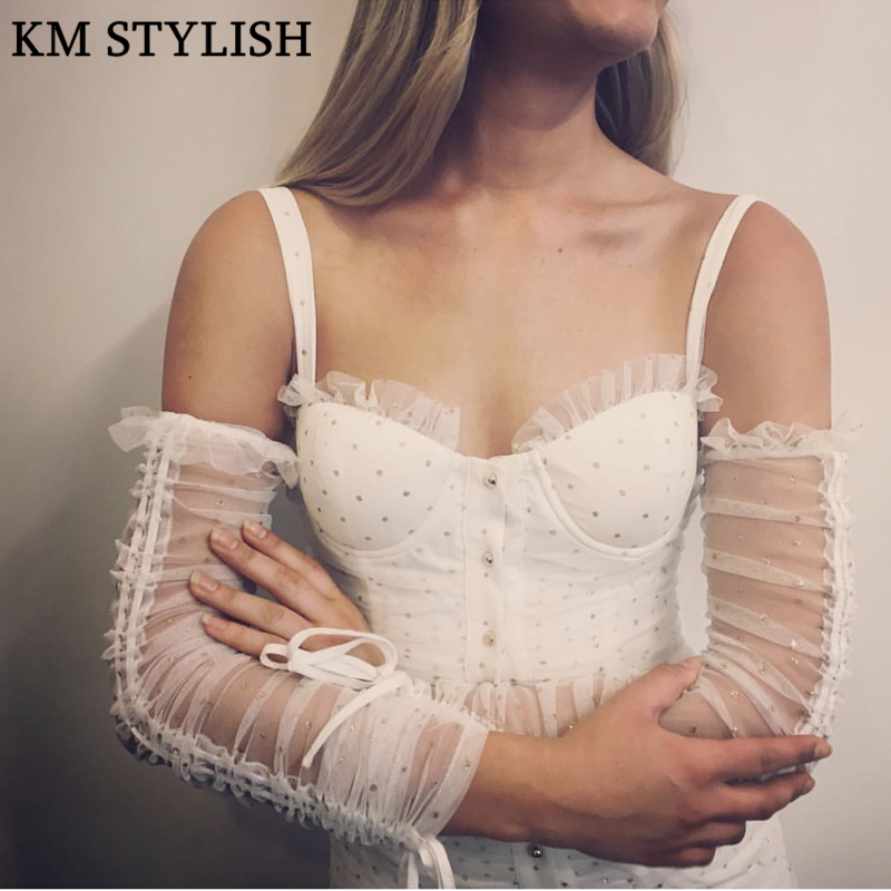 Sexy Bandeau Sling Strap Off Shoulder One piece Dress Long Sleeve Mesh Beaded Sequins Slim Backless White Dress