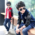 big boys spring jacket children long full sleeves coat handsome fashion boys tops made of woolen and leather