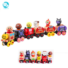 Baby wooden toys Toy Vehicles 6pcs magic Train Bread Surperman Educational table Games small Train for