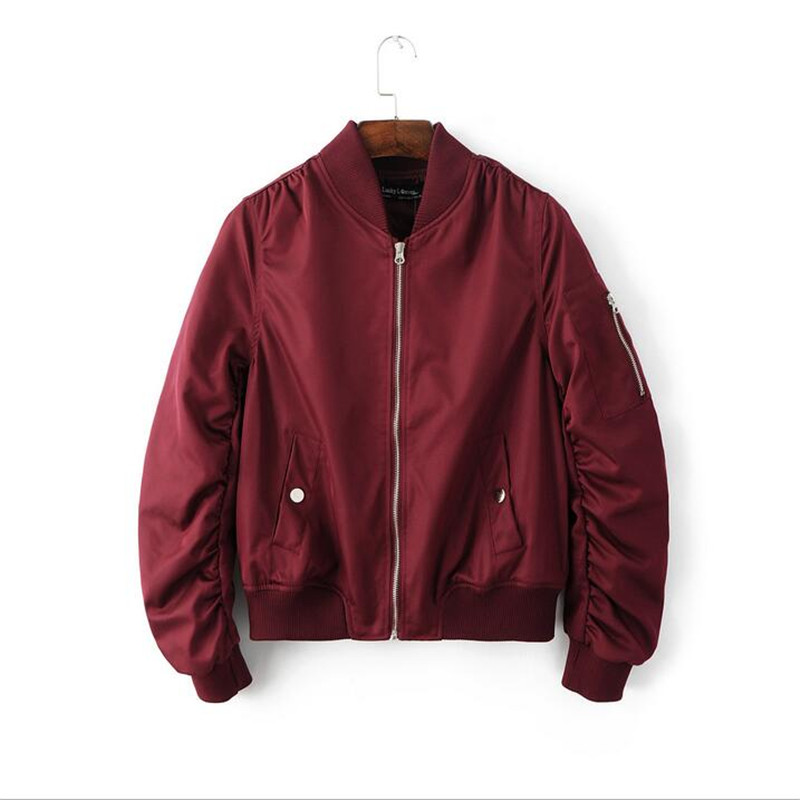 Online Shop Bomber Jacket Women Red Black Green Solid Color ...