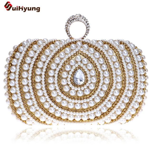 New Exquisite Pearl Bridal Handbag Fashion Diamond Ring Women Evening Bag Banquet Party Clutch Chain Shoulder Bag Crossbody