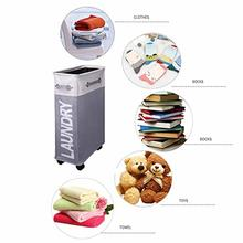 Rolling Corner Laundry Basket Hamper with Mesh Cover, Clothes Toy Storage Bin Organizer