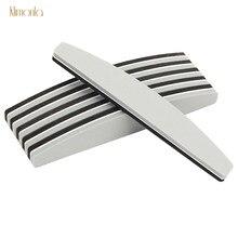 Полулуноходная шлифовальная губка для ногтей, 5 шт., серая, черная пилочка для ногтей, 180/240, буфер для двухстороннего маникюра с УФ-гелем, пило...