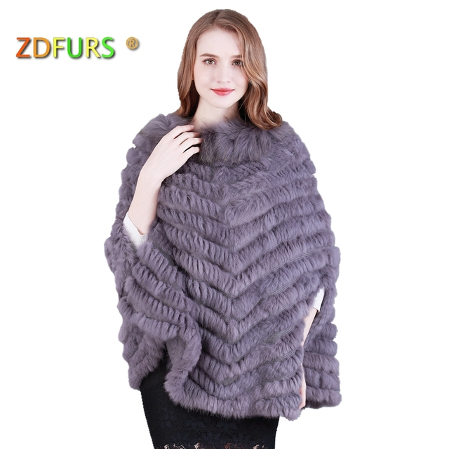 1a4842a84 ZDFURS * Luxury Women's Genuine Real Rabbit Fur poncho Raccoon Fur Trimming  Knitted pullovers Stole Cape