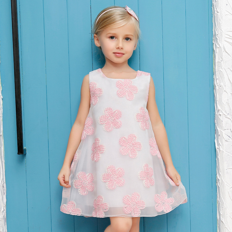 2016 Kids Princess Dress Girls Summer Cotton Evening Dress Baby Girl Flower Party Dresses Children Vintage Sleeveless Clothes