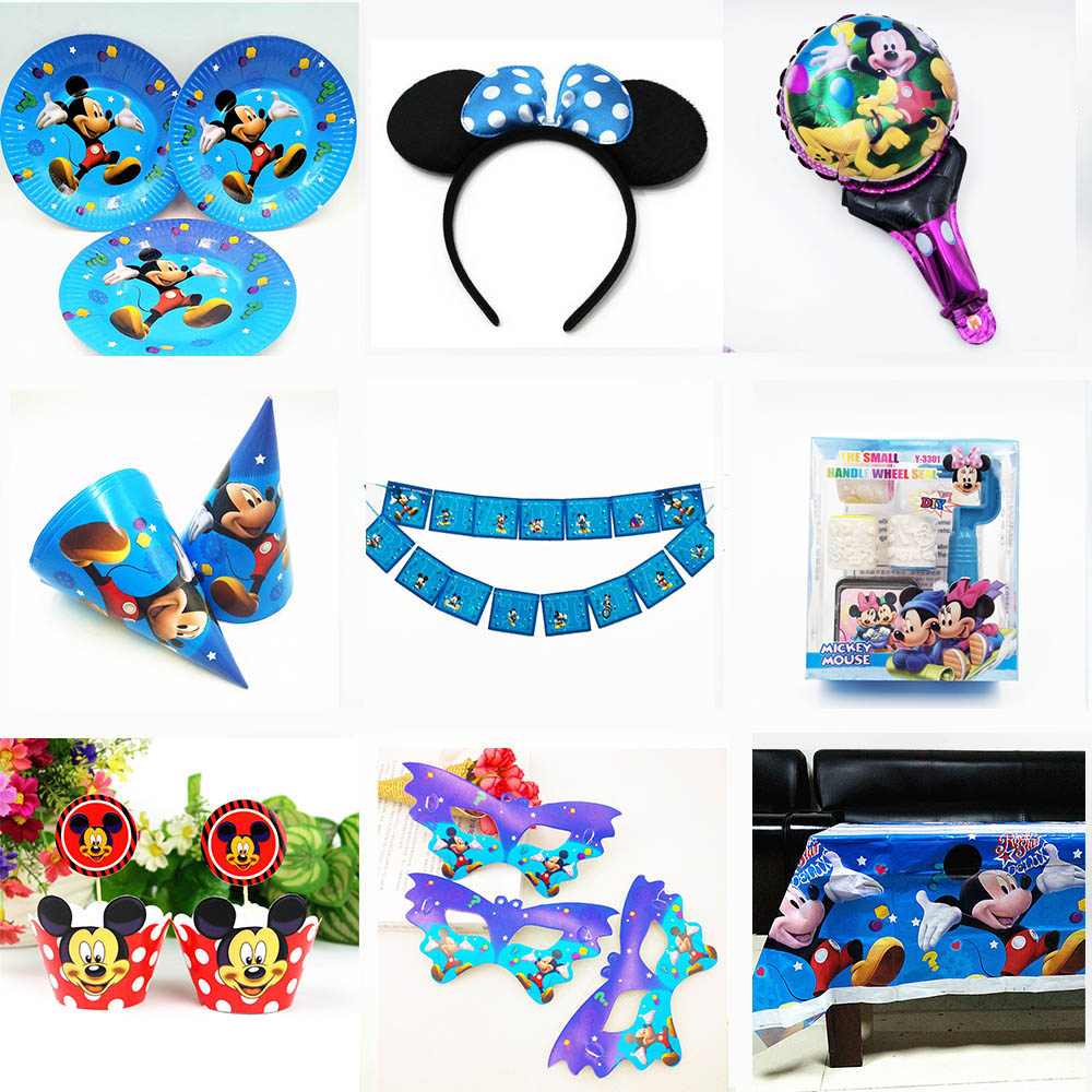 Mickey Mouse Birthday Party Decoration Supplies Kids Birthday Set cup plate banner gift favor birthday Forks Spoons Knive in Disposable Party Tableware from Home Garden