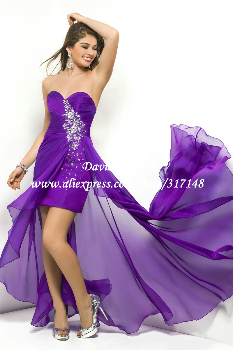 New Style HE497 Beaded Sweetheart Chiffon Short Front Long