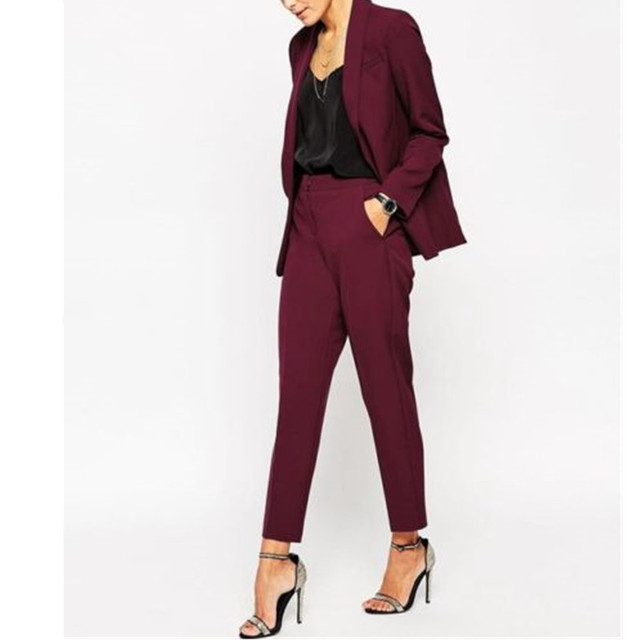 Women Pant Suits Women Burgundy Ladies Formal Custom Made Jacket + Pants  Suits New Arrivals bc1601dfef7f