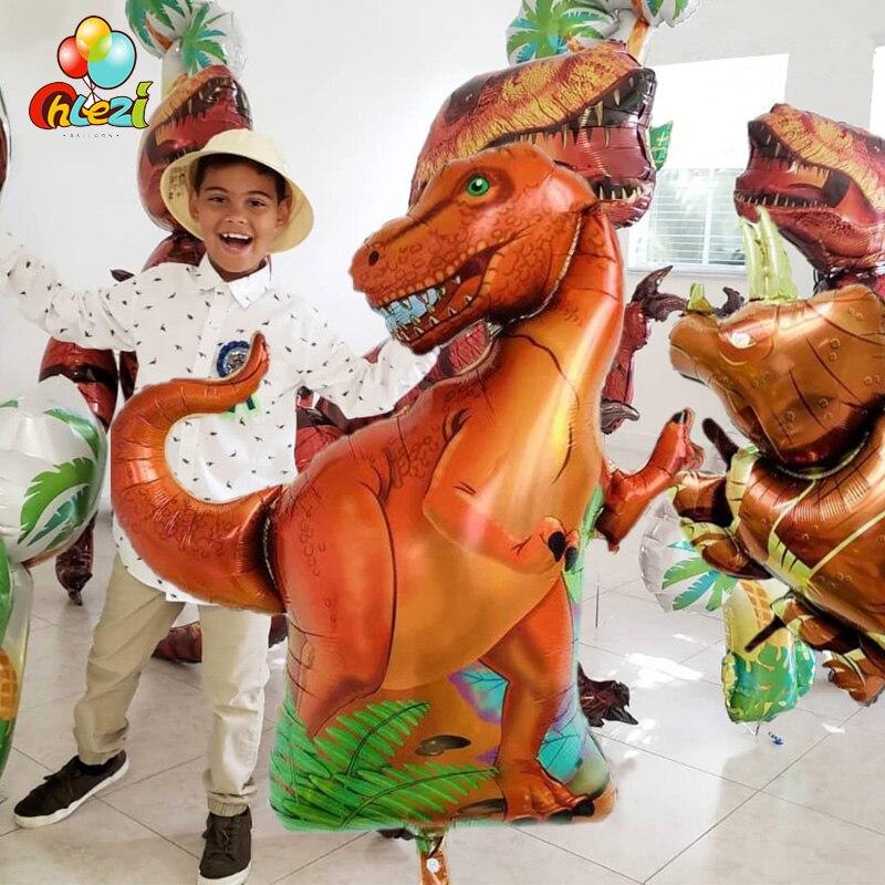 1pcs Tyrannosaurus raptors triceratops Jurassic dinosaur big size balloons boy' birthday party decor baby shower helium globos