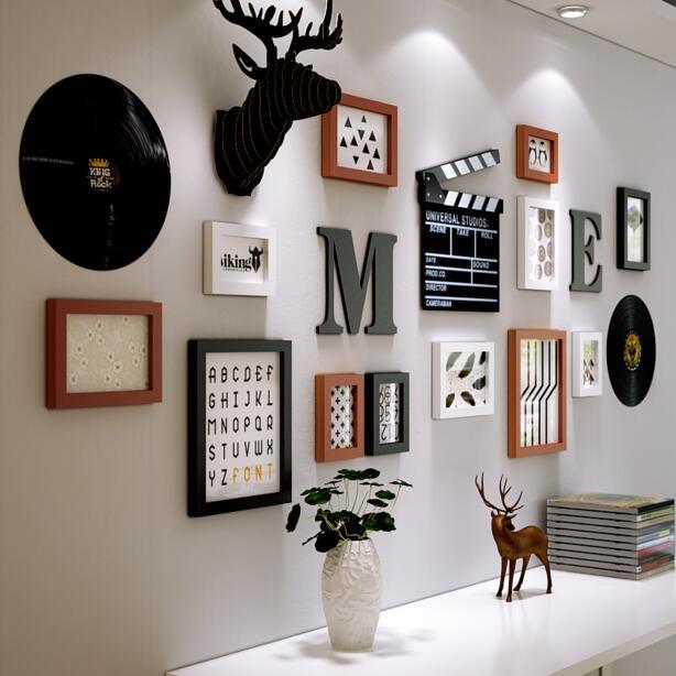 Europese Muur Ornamenten Hanger woonkamer muur opknoping creatieve schilderen vinyl record ornamenten herten hoofd muurstickers in set