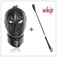 Adult Games Sex Products, Funny Sex Hood Mask , Soft PU Leather Bondage Restraints Hood Mask With Flog Whip Sex Toys For Couples