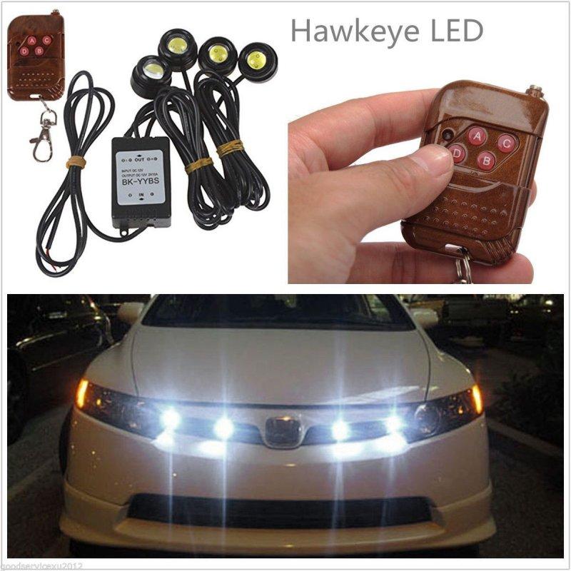 New Arrival 4in1 Kit 12V Hawkeye LED Car Emergency Strobe Lights DRL Wireless Remote Control