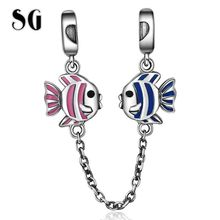 SG New 100% 925 Sterling Silver Pink & Blue Enamel Fish for Safety Chain Stopper Beads Fit Charm Bracelet for Women Fine Jewelry bamoer 100% 925 sterling silver purple enamel daisy flower safety chain stopper charm fit charm bracelet diy jewelry scc602