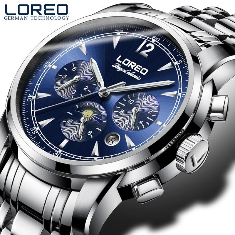 LOREO Genuine automatic mechanical steel fashion hollow luminous waterproof complete calendar blue business men watch цена