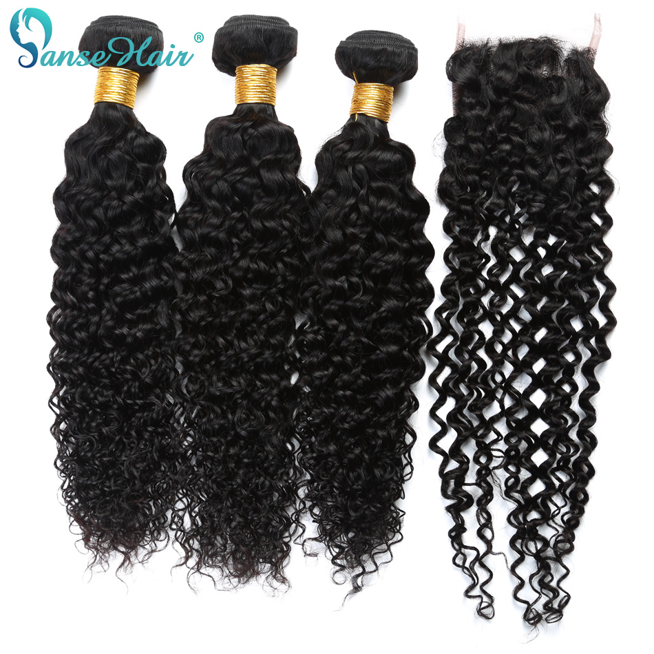 Panse Hair Burmese Human Hair Weaving 3 PCS Weft With 1 PC Closure 4X4 Customized 8 To 28 Inches Kinky Curly Hair Non Remy