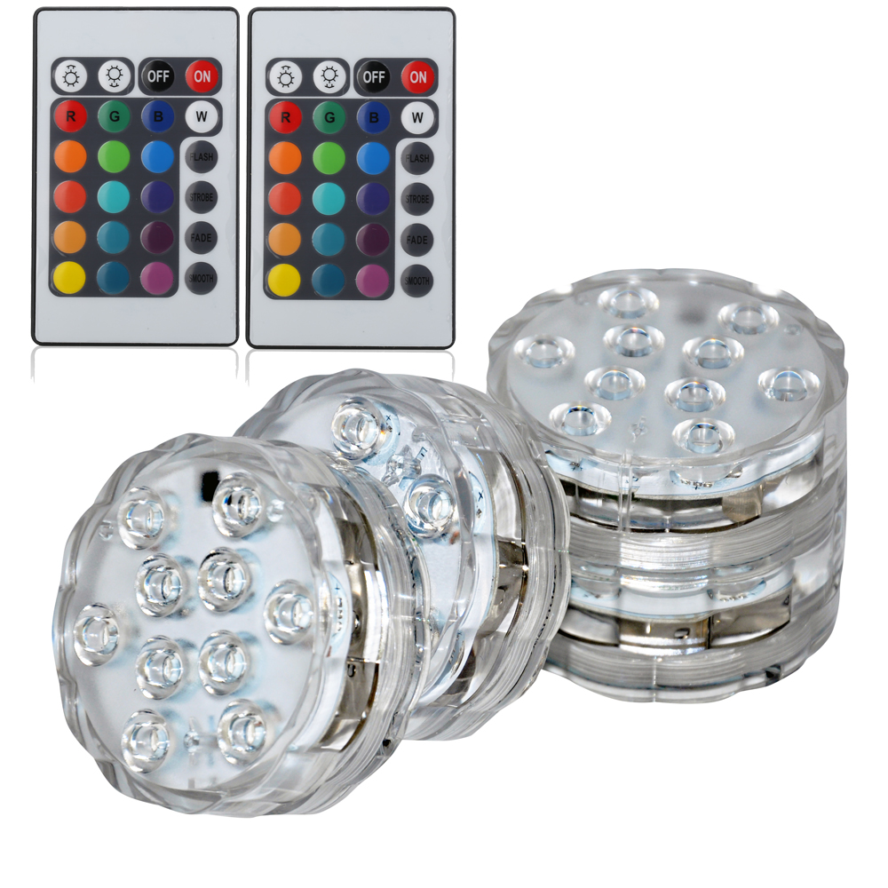 4*LED Submersible Lights Waterproof Party Pond Lights Multicolor RGB Lights RGB Vase Light For Decoration