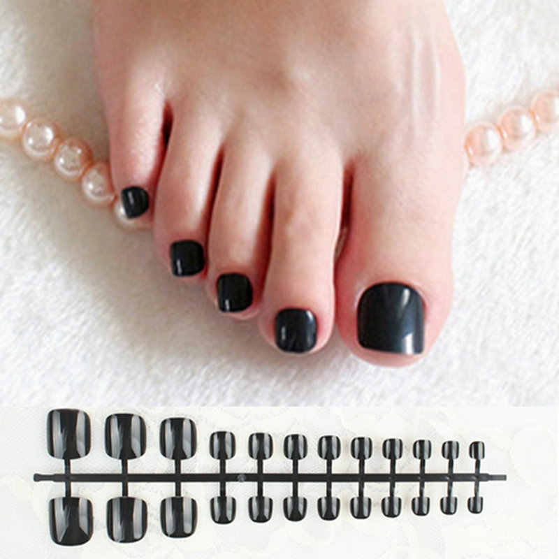 Classic Black Press On Nails Feet Square Glossy Short Fake Toe Nails Nature Acrylic Nail False Artificial Without Glue