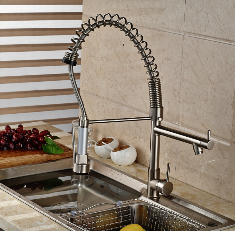 Deck Mounted Single Hole Swivel Spout Kitchen Sink Faucet stretch Mixer Taps Brushed Nickel antique crystal kitchen faucet solid brass brushed basin facuets swivel single handle hole sink mixer water taps deck mounted