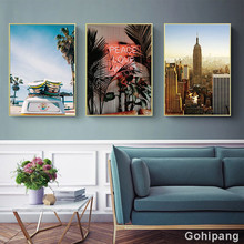Gohipang Modern Minimalistic Abstract Leaves Beach City Landscape Illustration Canvas Painting Art Print Poster Picture For Home
