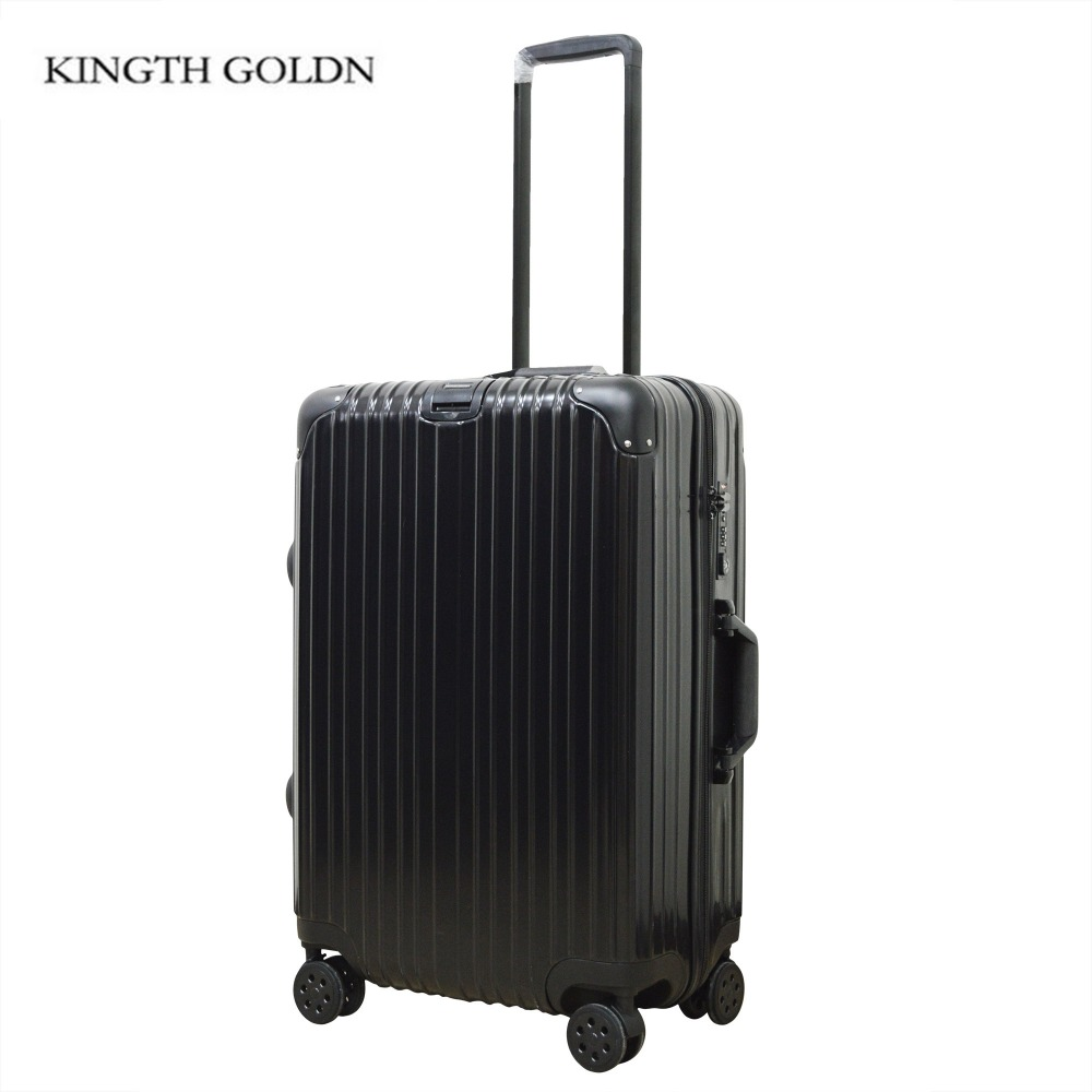 KINGTH GOLDN Travel Rolling Luggage Aluminum Frame Suitcase on Wheels PC+ ABS Trolley Case Waterproof Extension Boarding Box