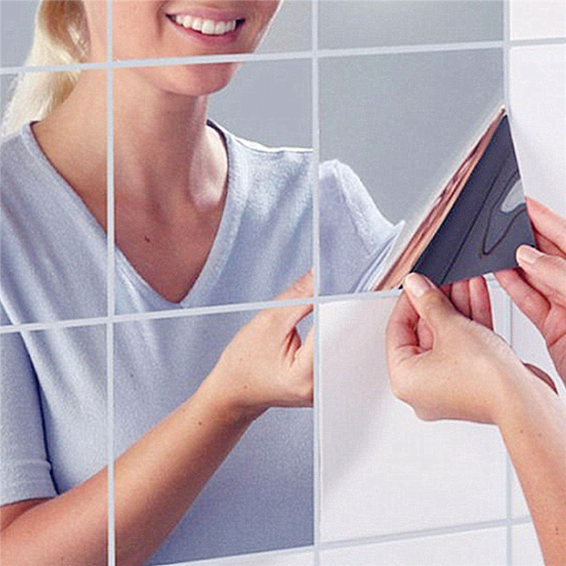 9Pcs/set 14.8x14.8cm Square Mirror Tile Wall Stickers 3D Decal Home Room Decoration DIY For Living Room Porch Approx