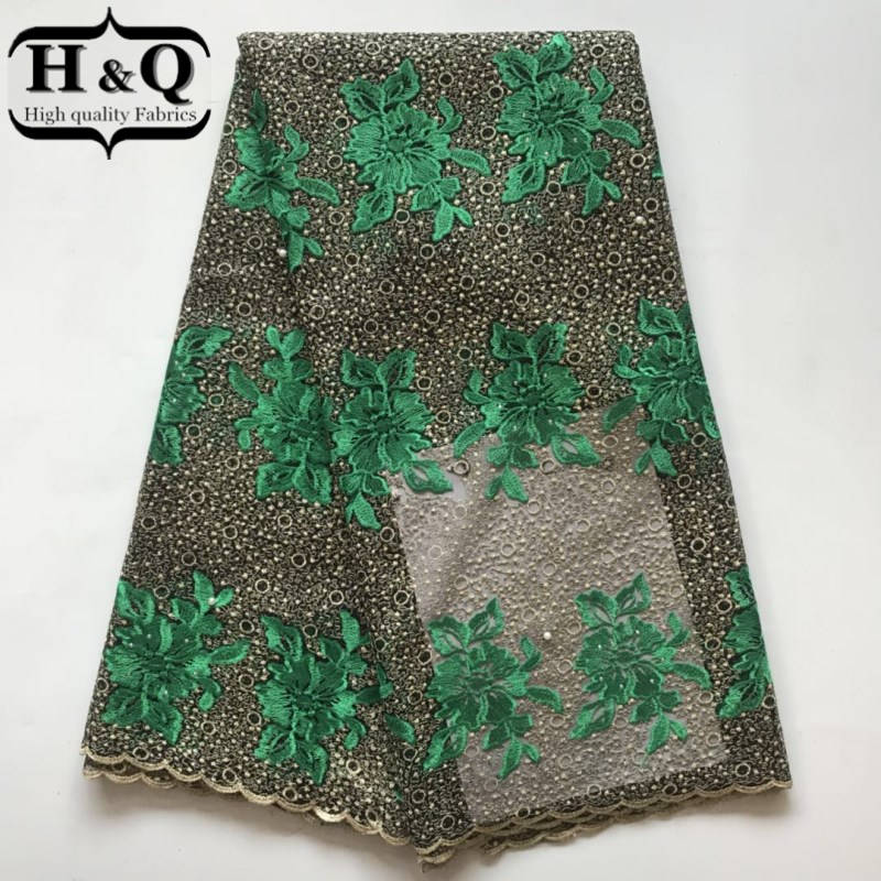 H Q African Lace Fabric High Quality 2018 NEW Design French voile Laces  Embroidery Flower Rhinestones for Wedding dress Women -in Lace from Home    Garden on ... 67dd66264167