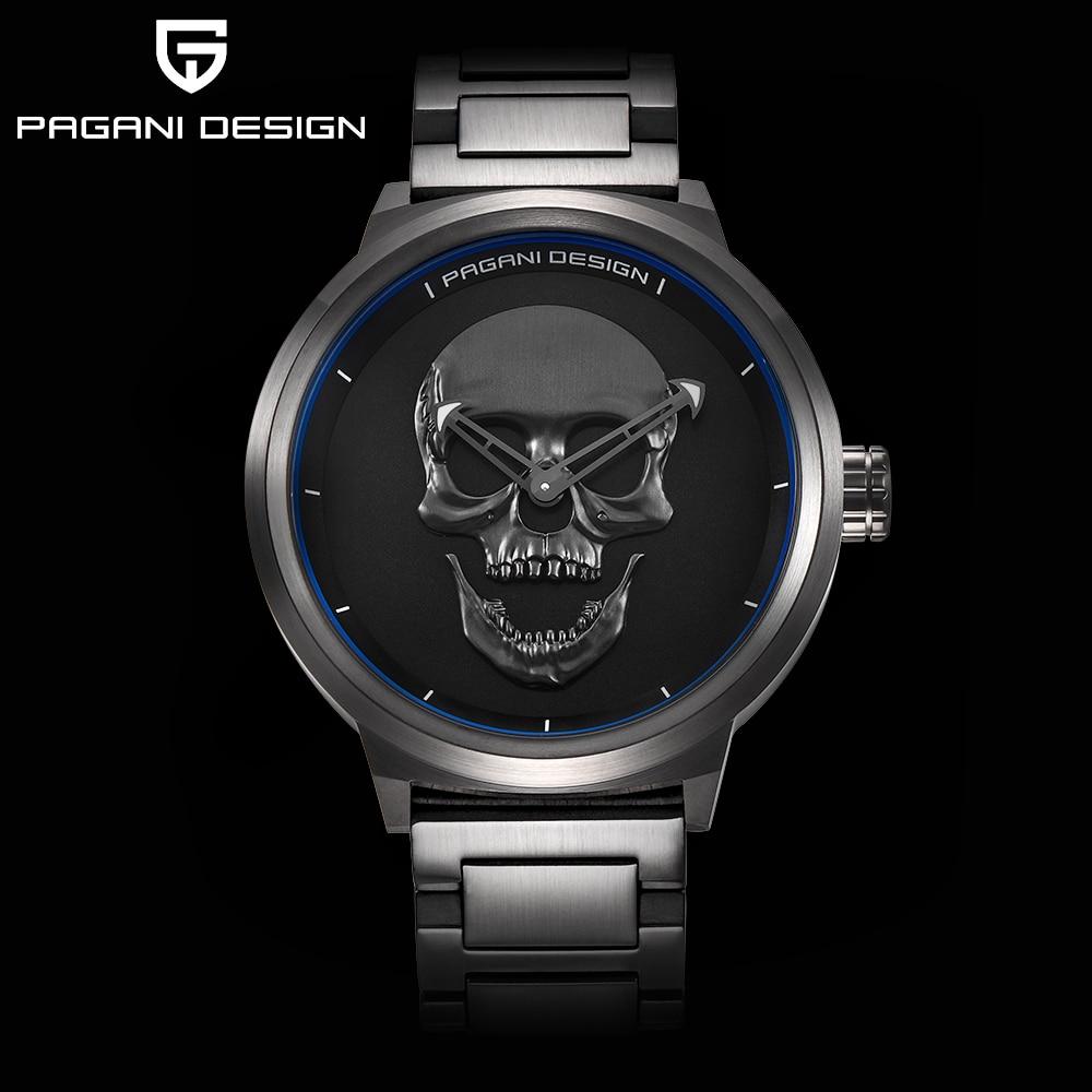 nd PAGANI DESIGN Punk 3D Skull Personality Retro Fashion Men's ...