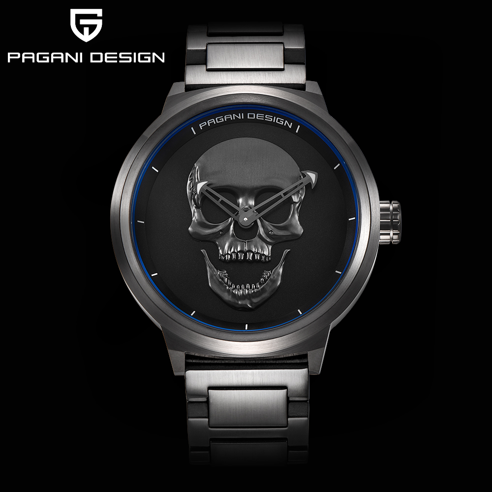 PAGANI DESIGN Punk 3D Skull Personality Retro Fashion Business Quartz Watch Men Sport Military Male Clock Watches Reloj Hombre mjartoria 2017 men punk skull watch student male cool leather belt sport quartz watch wrist watch quartzwatch punk rock clock