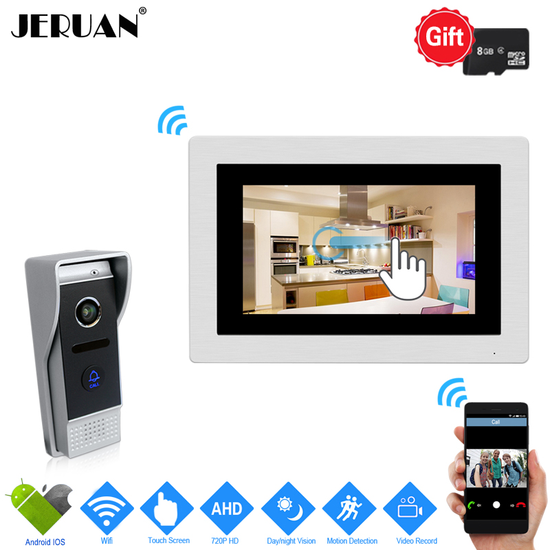JERUAN 720P AHD IP WIFI 7`` Touch Screen Video Door Phone Intercom System Record Monitor + 110 degree Camera Support Android IOS jeruan ip wifi 7 inch touch screen video doorbell intercom system kit 720p ahd record monitor ir coms camera support android ios