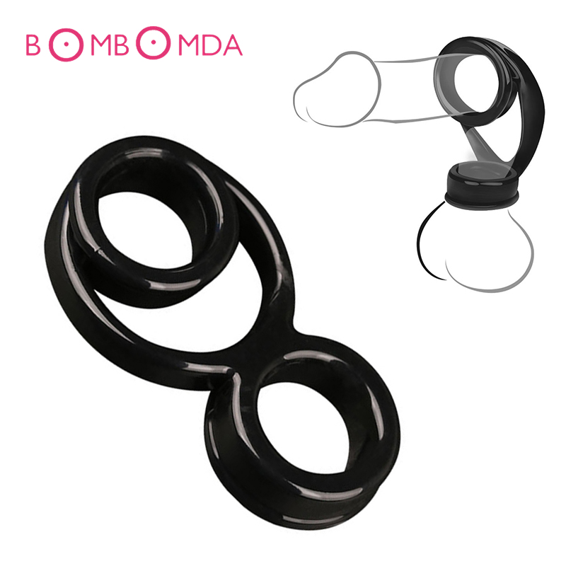 Silicone Penis Ring Triple-ring Cockring Scrotum Rings Adult Ejaculation Delay Sex Toys Prolong Products For Men Male