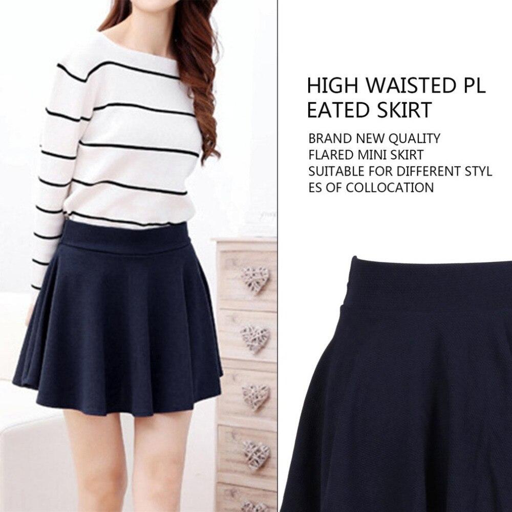 dc879e77 US $2.26 |Panie wysokiej talii plisowana spódnica Kawaii Harajuku spódnice  kobiety dziewczyny zwykły Skater Flared spódnica duży rozmiar mundurek ...