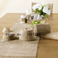 10M Hessian Burlap Ribbon Roll Vintage Rustic Natural Wedding Table Runner Chair Decor Burlap Table Runner