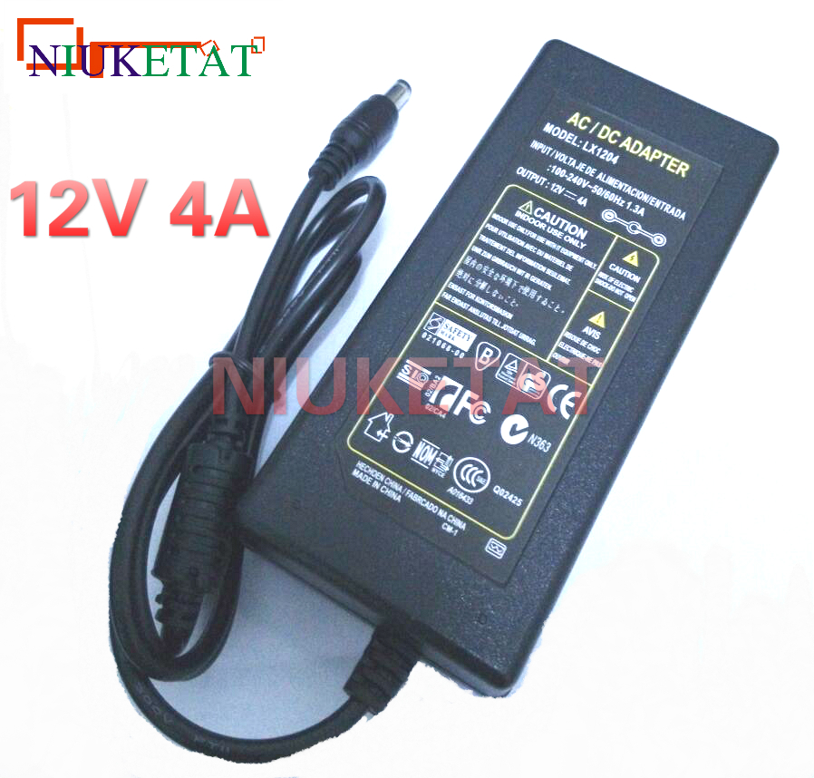 1pcs LX1204 AC 100-240V to DC 12V 4A 48W Power Adapter Switching Power Supply 12V4A Charger For RGB LED Strips Light riri won dc 12v led power supply ac 110 240v to dc 12v lighting transformers adapter for led strips light led tape driver